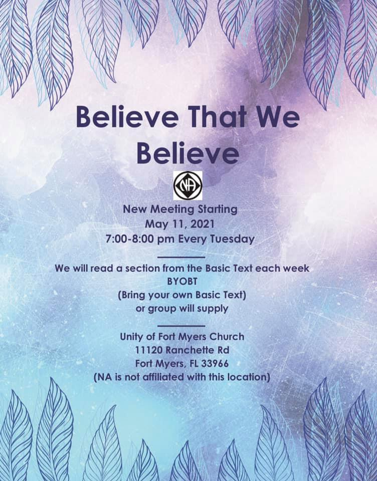 Believe That We Believe @ Unity of Ft. Myers Church | Fort Myers | Florida | United States